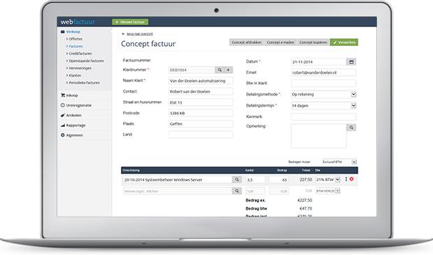 Online factuurprogramma Webfactuur